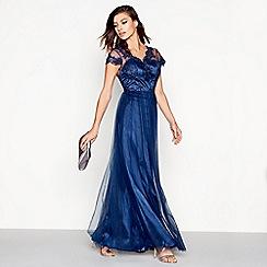 Chi Chi London - Navy lace mesh 'Dorota' sweetheart cap sleeves maxi dress
