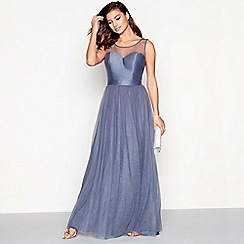 Chi Chi London - Blue mesh 'Vix' sweetheart sleeveless maxi dress