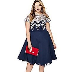 Chi Chi London - Navy lace 'Ceska' midi plus size prom dress