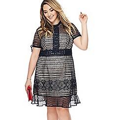 Chi Chi London - Navy lace 'Chloe Marie' high neck knee length plus size shift dress