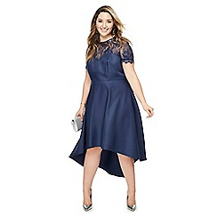 Chi Chi London - Navy lace 'Jasper' midi plus size dress