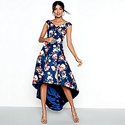 Chi Chi London - Navy floral print satin 'Zinnia' bardot high low dress