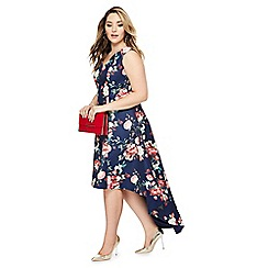 Chi Chi London - Navy floral print 'Zinnia' V-neck plus size dress