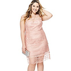 Chi Chi London - Pink lace 'Aleks' knee length plus size shift dress