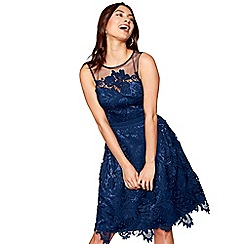 Chi Chi London - Navy floral lace mesh 'Gloria' high neck knee length bridesmaid dress
