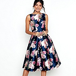 Chi Chi London - Navy floral print satin 'Montana' prom dress