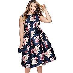 Chi Chi London - Navy floral print 'Montana' midi plus size prom dress