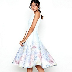 Chi Chi London - Blue floral print satin 'Beky' dress