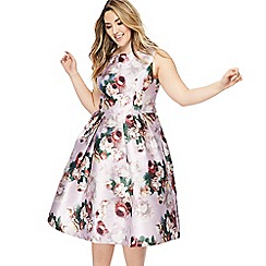 Chi Chi London - Pink floral print 'Ariyah' midi plus size prom dress
