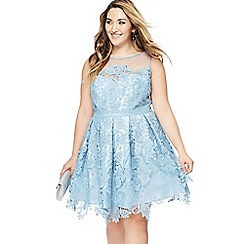 Chi Chi London - Blue lace 'Aylin' knee length plus size prom dress