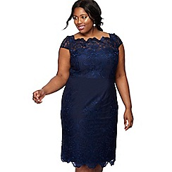 Chi Chi London - Navy lace 'Jourdanne' round neck knee length plus size pencil dress