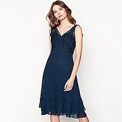 Chi Chi London - Navy embroidered 'Coya' knee length evening dress