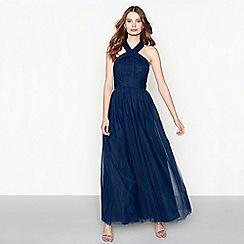 Chi Chi London - Navy chiffon 'Roberta' halterneck full length prom dress