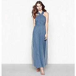 Chi Chi London - Blue chiffon 'Alessia' halterneck full length prom dress