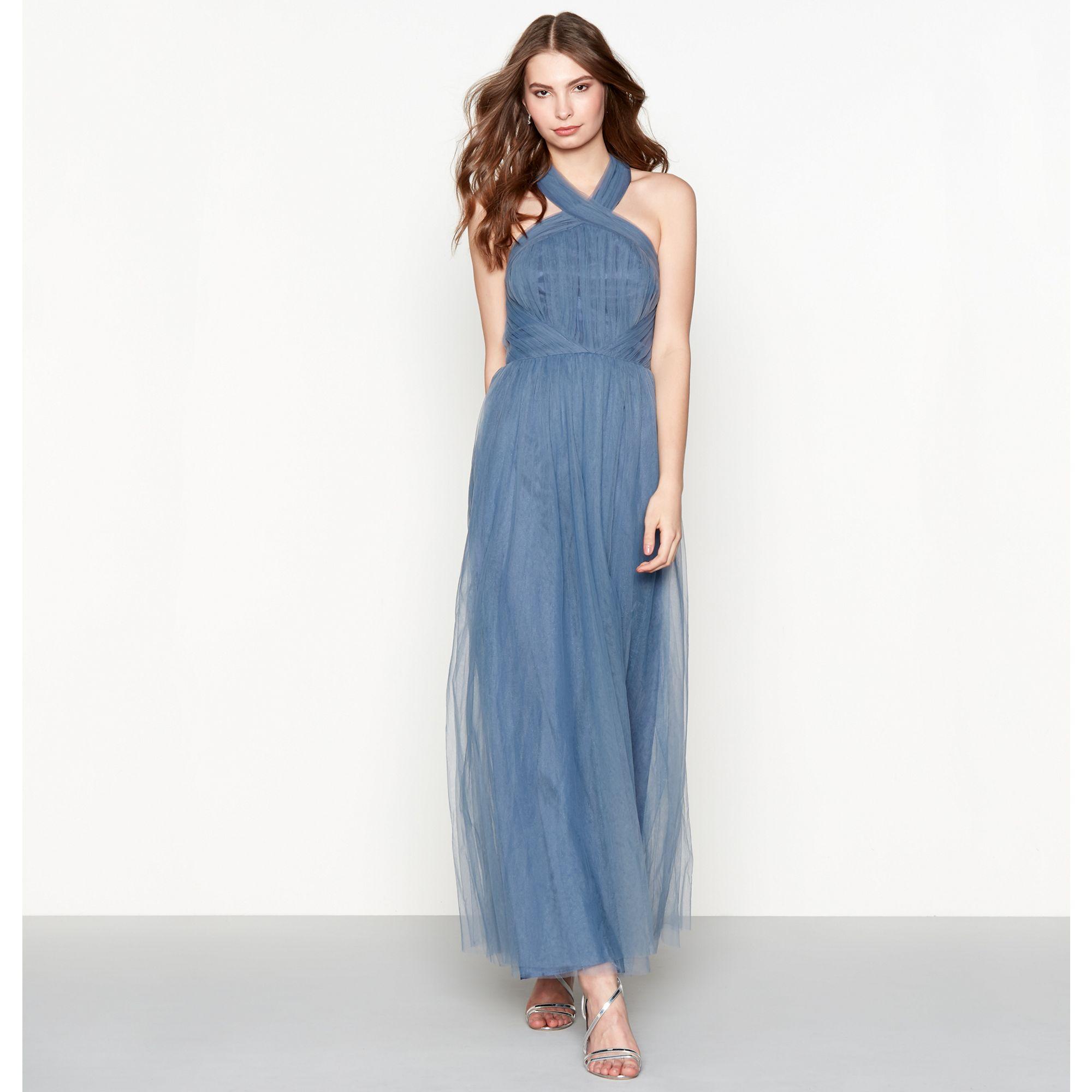 Chi Chi London Womens Blue Chiffon \'Alessia\' Halterneck Full Length ...