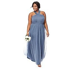 Chi Chi London - Blue 'Alessia' sleeveless tie neck plus size maxi dress