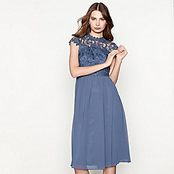 Chi Chi London - Blue lace 'Emma' knee length evening dress
