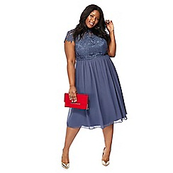 Chi Chi London - Blue embroidered 'Emma' high neck plus size midi dress