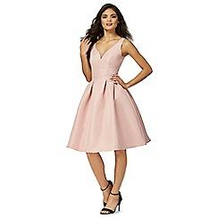 Chi Chi London - Pink 'Drew' v-neck knee length prom dress