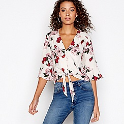 Red Herring - Multi-coloured floral jacquard button top