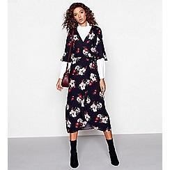 Red Herring - Multi-coloured floral print jacquard v-neck midi wrap dress