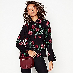 Red Herring - Black poppy print flared cuff shirt
