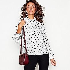 Red Herring - White polka dot flared cuff shirt