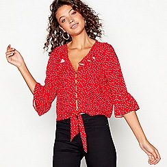 Red Herring - Red spot print ruffle blouse