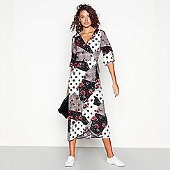 Red Herring - Multi-coloured spliced print v-neck midi wrap dress