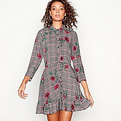 Red Herring - Multi poppy check print mini shirt dress