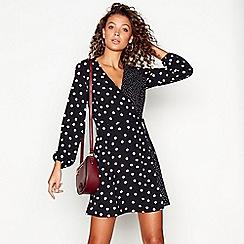 Red Herring - Black spot print long sleeves v-neck mini wrap dress