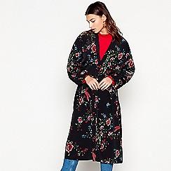 Red Herring - Black floral bird print kimono