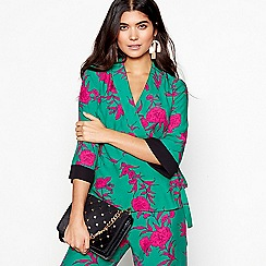 Red Herring - Green floral 'Cordelia' wrap front blouse
