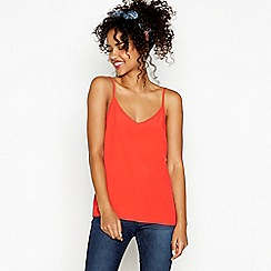 Red Herring - Red chiffon V-neck camisole top