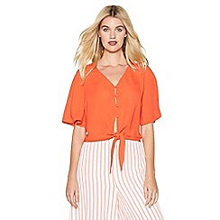 Red Herring - Orange tie front blouse