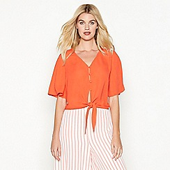 Red Herring - Orange tie front blouse