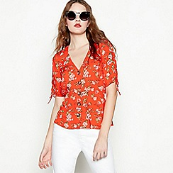 Red Herring - Red floral print V-neck short sleeve blouse