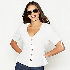 Red Herring - Ivory button through V-neck short sleeve blouse
