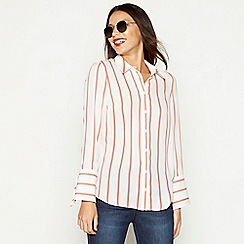 Red Herring - Ivory stripe print tie sleeve shirt