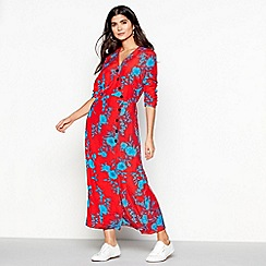 Red Herring - Red floral print 'Cordelia' long sleeve maxi dress