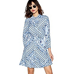 Red Herring - Blue scarf print long sleeve ruffle shirt dress