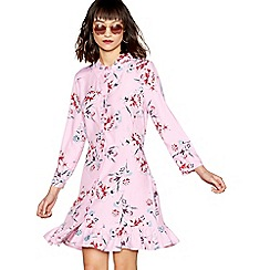 Red Herring - Pink floral print long sleeve ruffle shirt dress