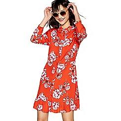 Red Herring - Red floral print long sleeve ruffle shirt dress