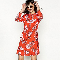 Red Herring - Red floral print long sleeve ruffle shirt dress