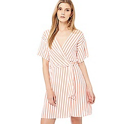 Red Herring - Ivory stripe print plunge neck mini dress