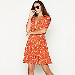 Red Herring - Red floral print V-neck short sleeve mini tea dress