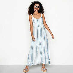 Red Herring - Blue stripe print V-neck full length maxi dress