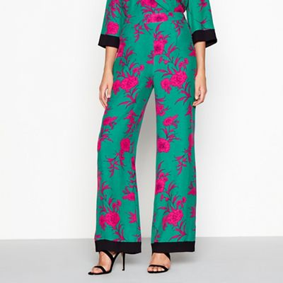 Red Herring   Green Floral 'cordelia' Wide Leg Trousers by Red Herring