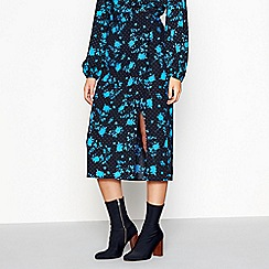 Red Herring - Black floral midi side split skirt