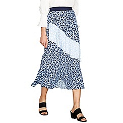 Red Herring - Blue floral print tiered midi skirt